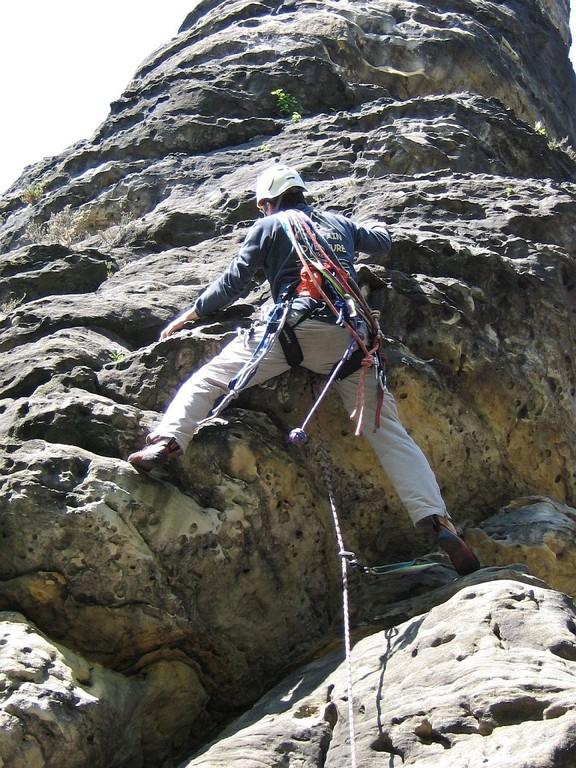 Klettern am Schraubenkopf (Bielatal, Sächsische Schweiz)