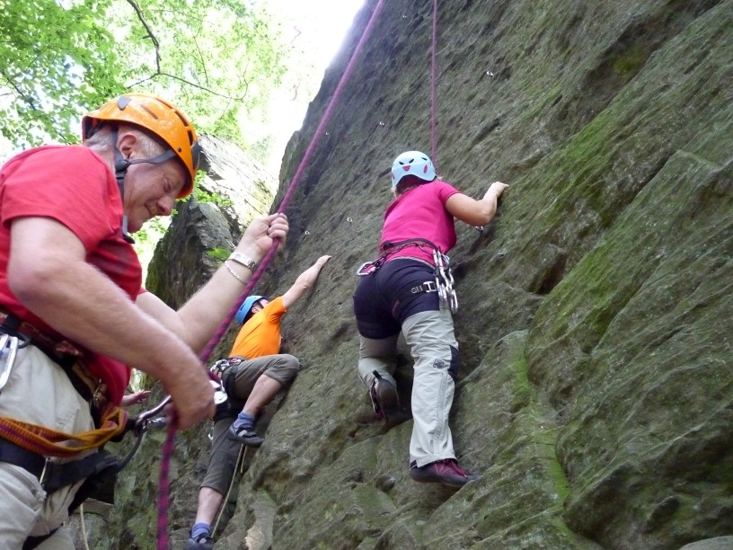 Klettern an der Fattigsmühle bei Hof, Samstag 04.08.2012