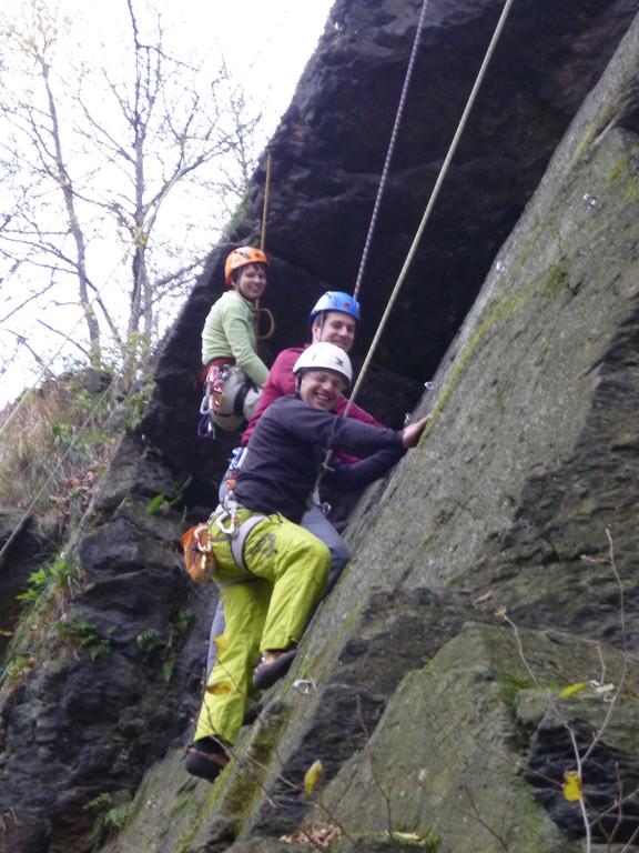 Christiane, Frederic und Lars an der Schafswand (Klettergebiet Steinicht)