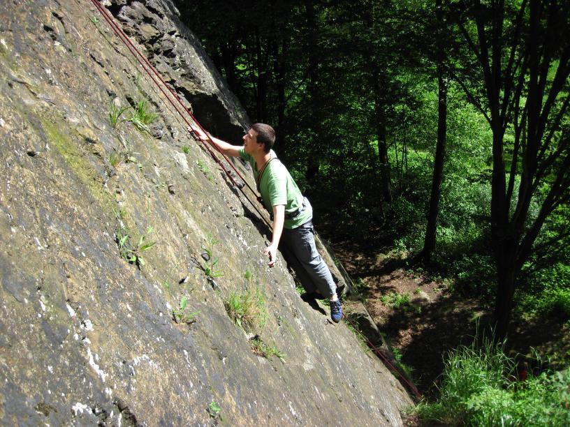 Klettern an der Schafswand (Klettergebiet Steinicht)