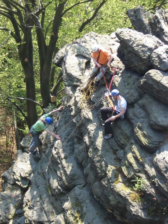 Klettern am Ottostein (Bielatal, Sächsische Schweiz)