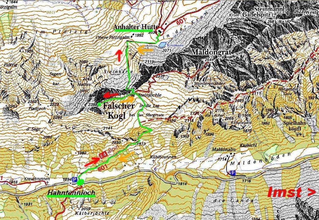 Kartenauschnitt zur Bergtour