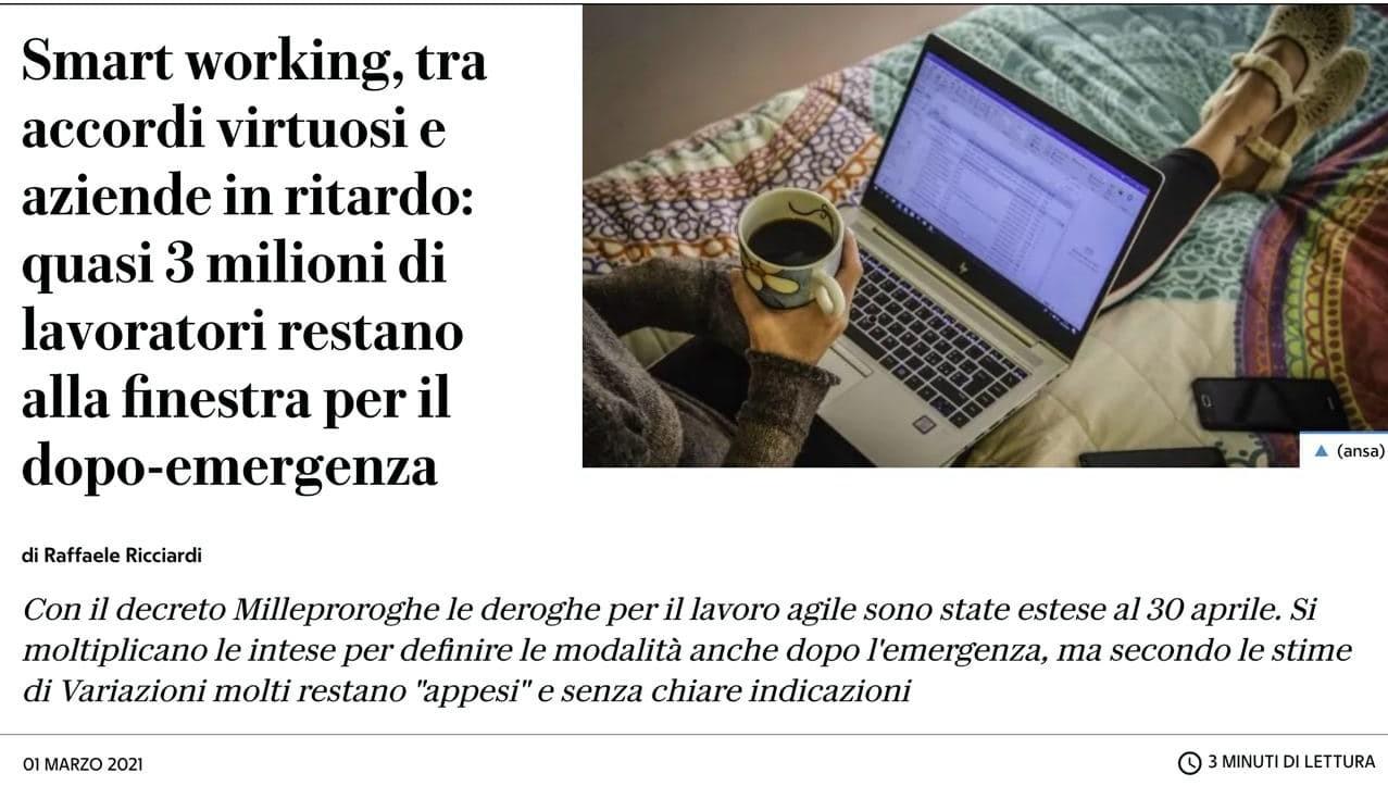"""Ancora molti i lavoratori nel """"limbo"""" dello smart working - Arianna Visentini ne parla su La Repubblica"""