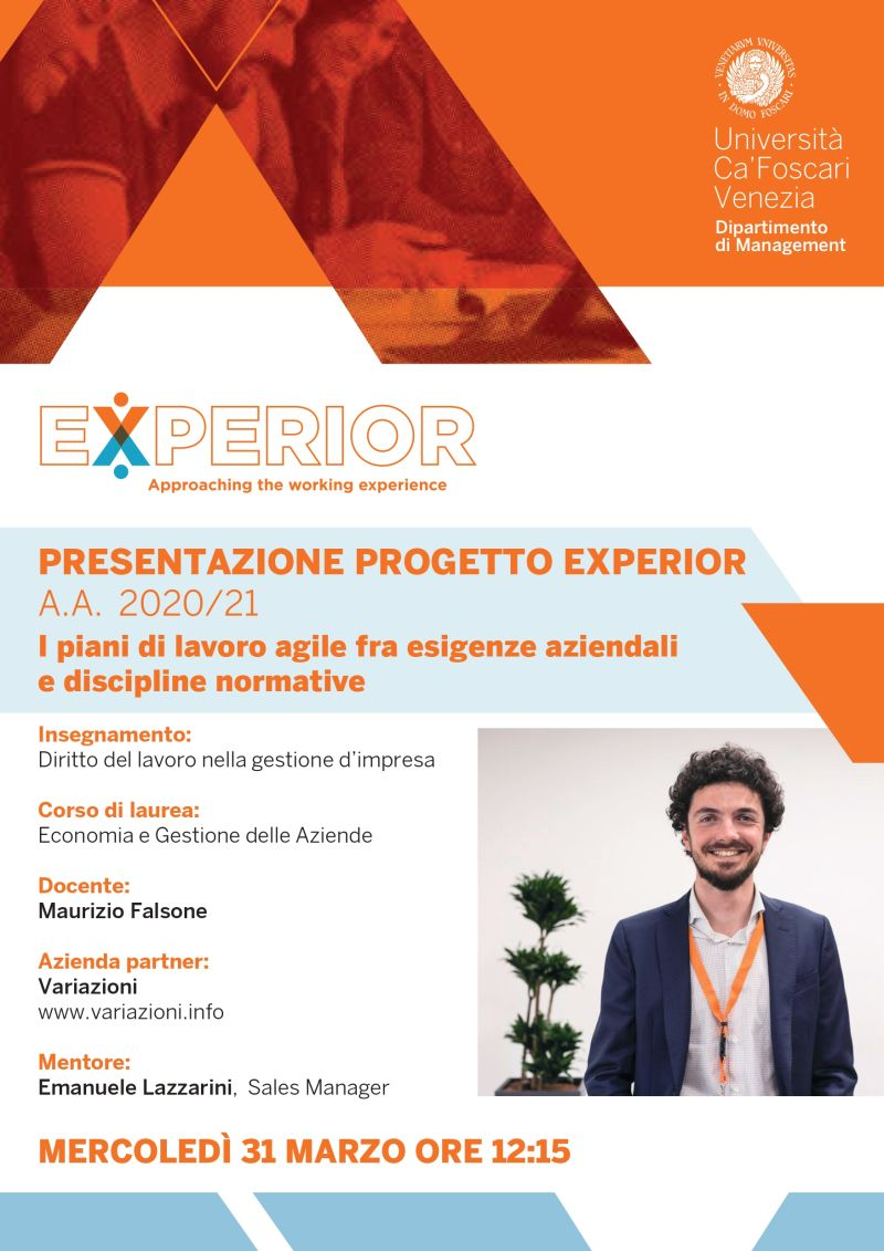Variazioni come Mentore al corso di Diritto del Lavoro nella Gestione d'Impresa presso il Dipartimento di Management - Università Ca' Foscari di Venezia