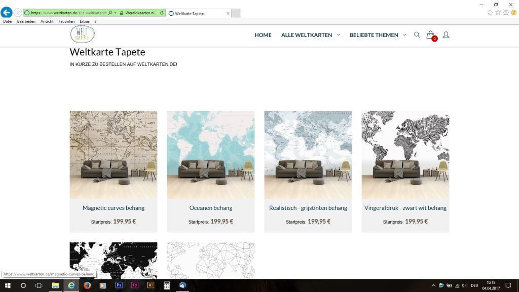 Die Weltkarten als Tapete.