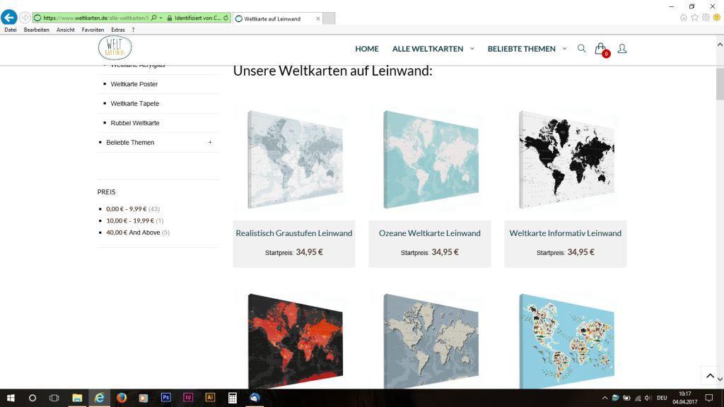 Die Weltkarten auf Leinwand.