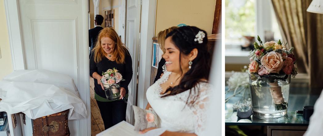 Blumen kommen Braut Hochzeit