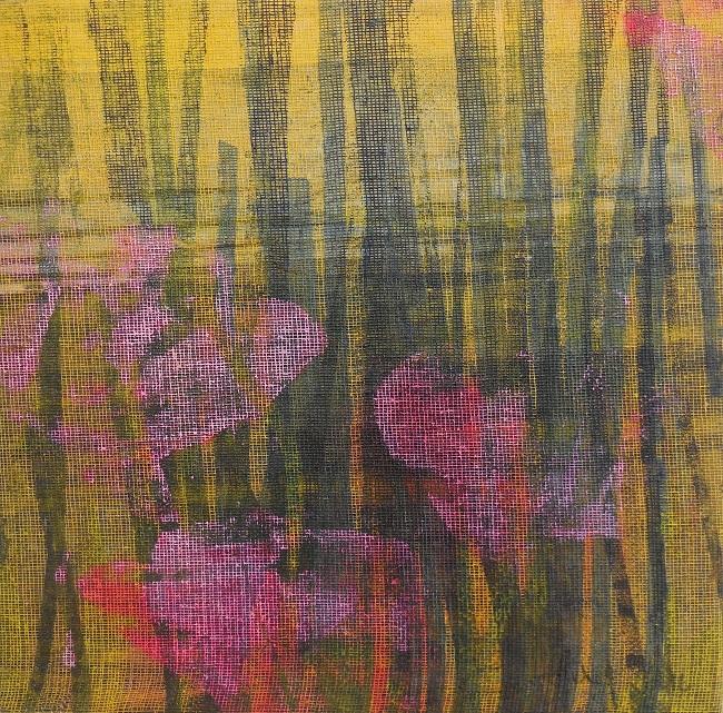 """Caty BANNEVILLE """"Compagnie des pollens"""" encres et pigments sur toile de lin 25 cm x 25 cm 130 €"""