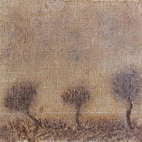 """Christian RONCERAY """"Par les chemins... VI"""" technique mixte sur toile 20 cm x 20 cm 200 €"""