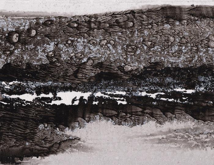 """Camille COUTURIER """"Encre n°2"""" encre de Chine sur papier marouflé sur bois 19 cm x 24 cm 190 €"""