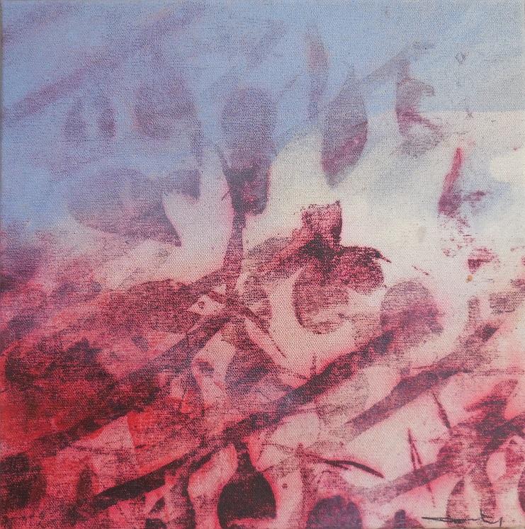 """Caty BANNEVILLE """"Changement de climat 4"""" encres et pigments sur toile de lin 30 cm x 30 cm 150 €"""