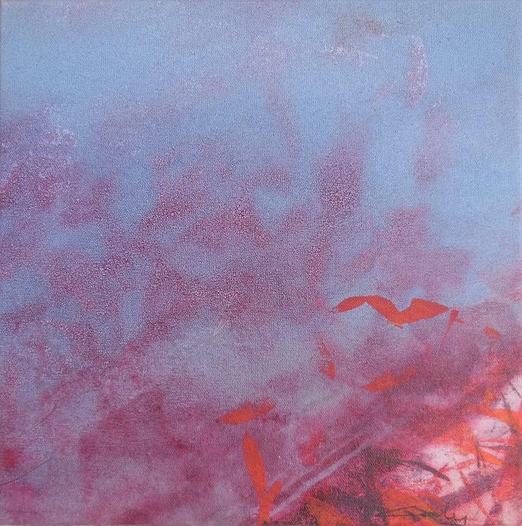 """Caty BANNEVILLE """"Changement de climat 2"""" encres et pigments sur toile de lin 30 cm x 30 cm 150 €"""