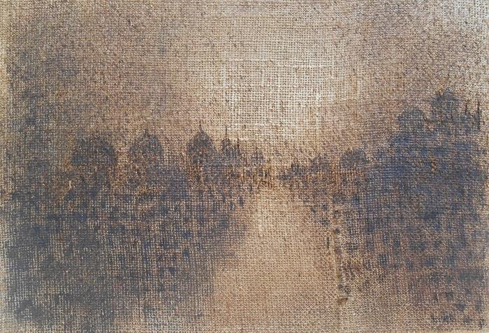 """Christian RONCERAY """"Paysage-Mémoire XLIX"""" technique mixte sur bois 35 cm x 24 cm 280 €"""