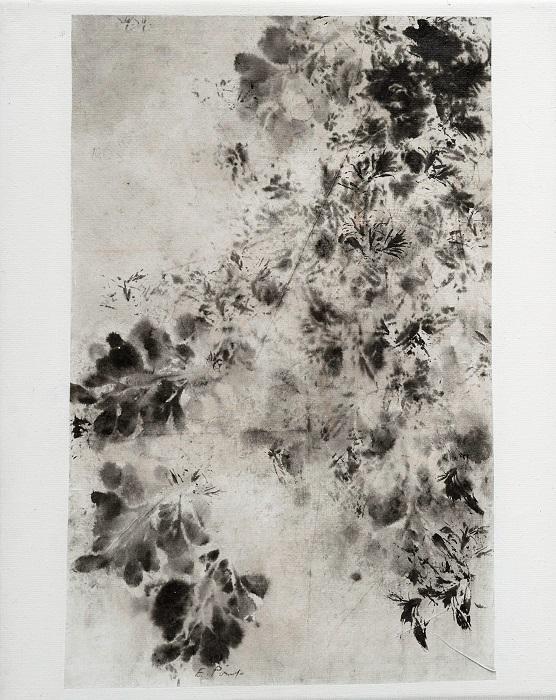 """Elisabeth POIRET """"Sans titre n°4"""" technique mixte sur toile 24 cm x 30 cm 250 €"""