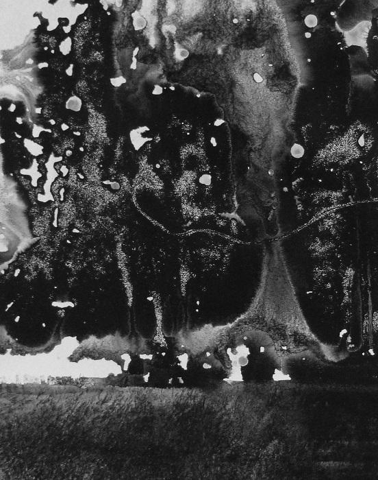 """Camille COUTURIER """"Encre n°17"""" encre de Chine sur papier marouflé sur bois 24 cm x 19 cm 190 €"""