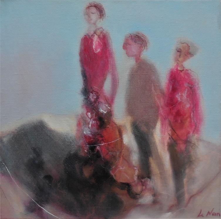 """Olivier LE NAN """"Un détour par la plage"""" huile sur toile 40 cm x 40 cm 480 €"""