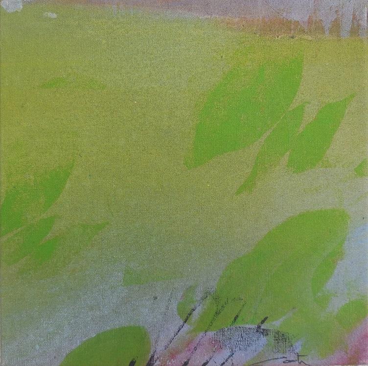"""Caty BANNEVILLE """"Changement de climat 1"""" encres et pigments sur toile de lin 30 cm x 30 cm 150 €"""