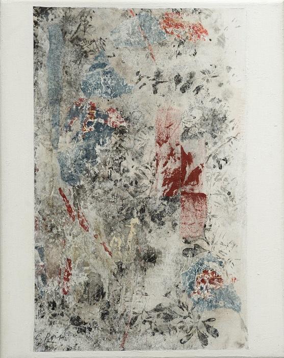 """Elisabeth POIRET """"Sans titre n°1"""" technique mixte sur toile 24 cm x 30 cm 250 €"""