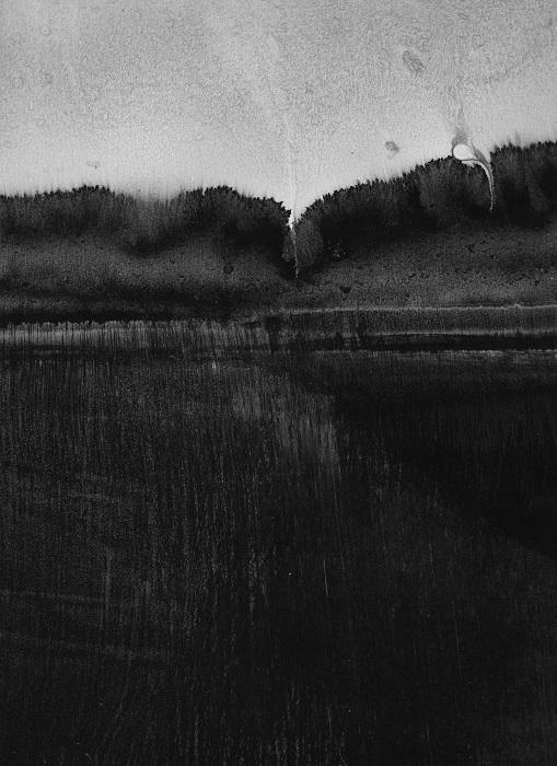 """Camille COUTURIER """"Encre n°7"""" encre de Chine sur papier marouflé sur bois 29,7 cm x 21 cm 200 €"""