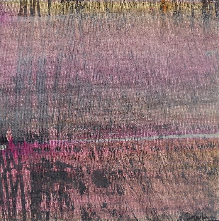 """Caty BANNEVILLE """"Quelles brindilles"""" encres et pigments sur toile de lin 30 cm x 30 cm 150 €"""