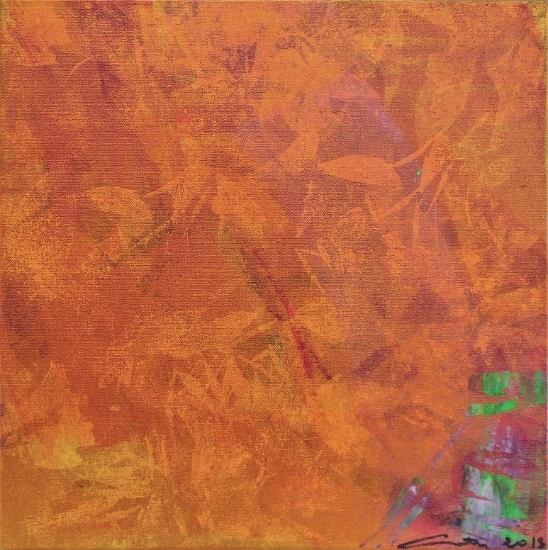 """Caty BANNEVILLE """"Le goût de la figue"""" encres et pigments sur toile de lin 40 cm x 40 cm 200 €"""