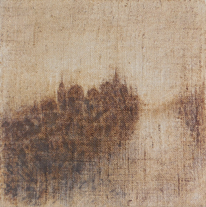 """Christian RONCERAY """"Réminiscence V"""" technique mixte sur bois 38 cm x 38 cm 440 €"""