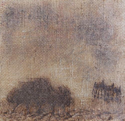 """Christian RONCERAY """"Par les chemins... IV"""" technique mixte sur toile 20 cm x 20 cm 200 €"""