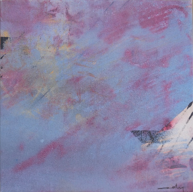 """Caty BANNEVILLE """"Changement de climat 3"""" encres et pigments sur toile de lin 30 cm x 30 cm 150 €"""