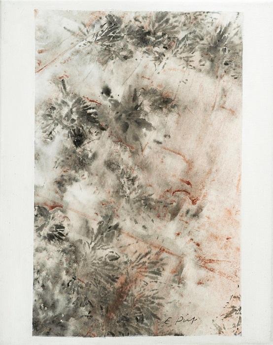 """Elisabeth POIRET """"Sans titre n°2"""" technique mixte sur toile 24 cm x 30 cm 250 €"""