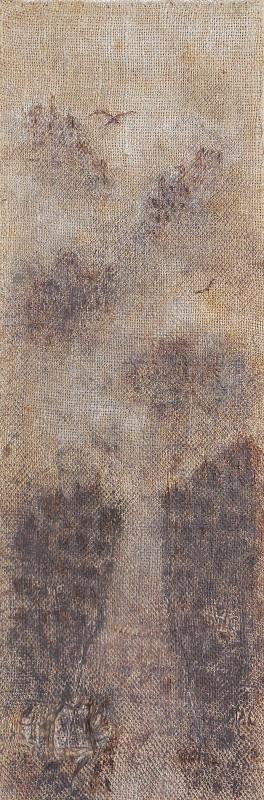"""Christian RONCERAY """"Par les chemins... LI"""" technique mixte sur bois 20 cm x 60 cm 400 €"""