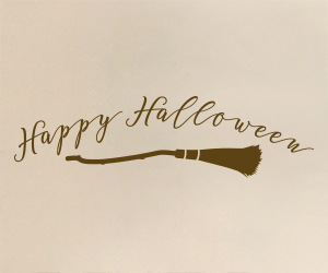 Happy Halloween Witch's Broom vinyl sticker