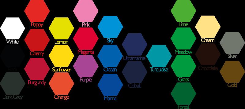 Colours for vinyl sticker options: White, Black, Poppy, Cherry, Burgundy, Lemon, Sunflower, Orange, Pink, Magenta, Purple, Sky, Ocean, Marina, Ultramarine, Cobalt, Turquoise, Lime, Meadow, Grass, Forest, Cream, Chocolate, Silver & Gold.