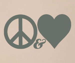 Peace and Love vinyl wall art sticker