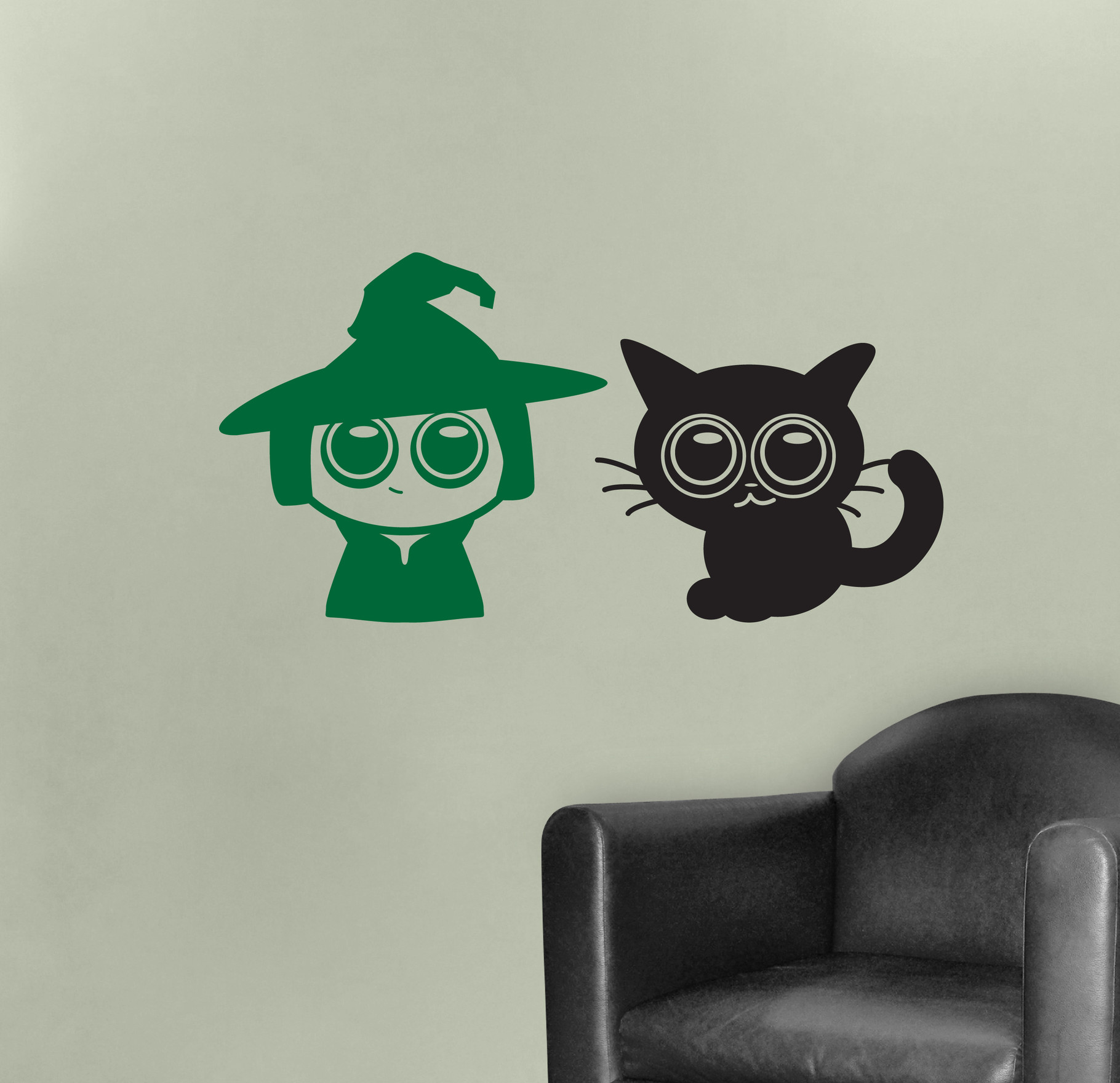 Cute Witch Halloween Vinyl Stickers Decal Wall Art