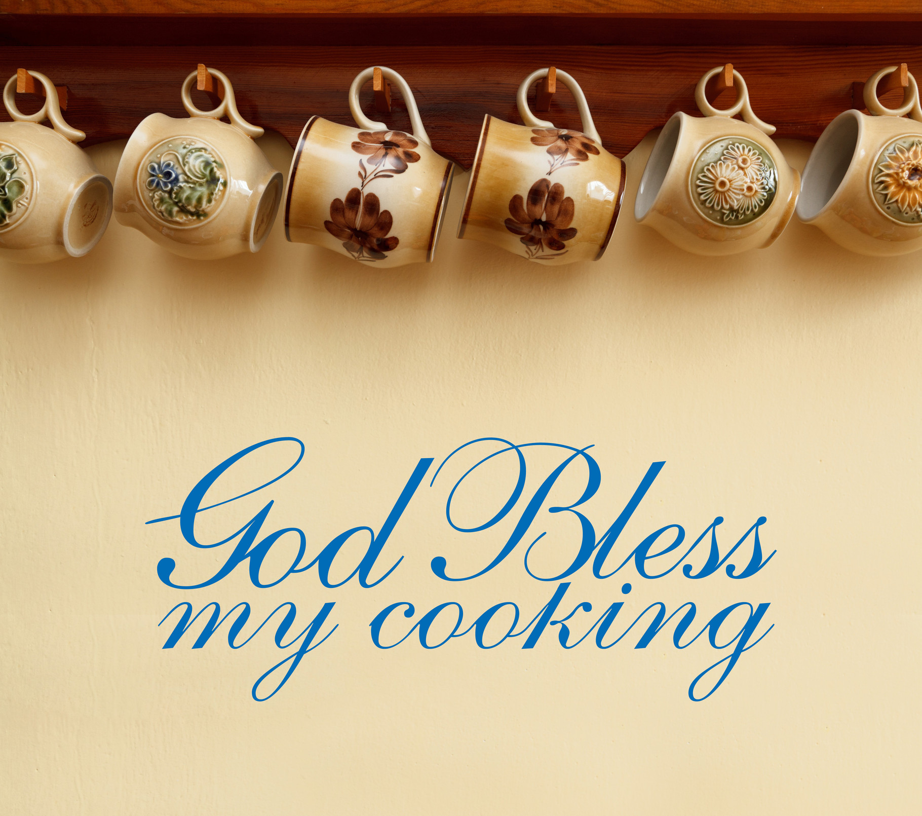 God Bless My Cooking | quote | sticker - Wall Art Company
