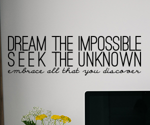 Dream the Impossible, Seek The Unknown, embrace all that you discover wall art sticker