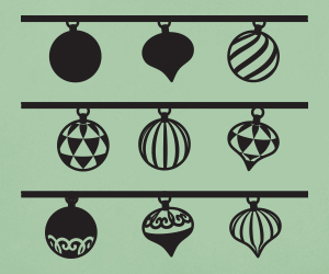 Festive Holiday Baubles vinyl stickers