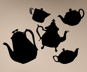 Set of five tea pot stickers