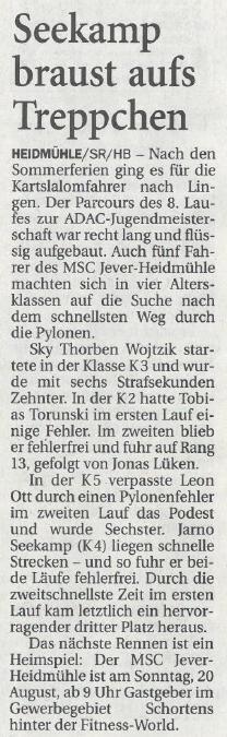Nordwest-Zeitung vom 11.08.2017