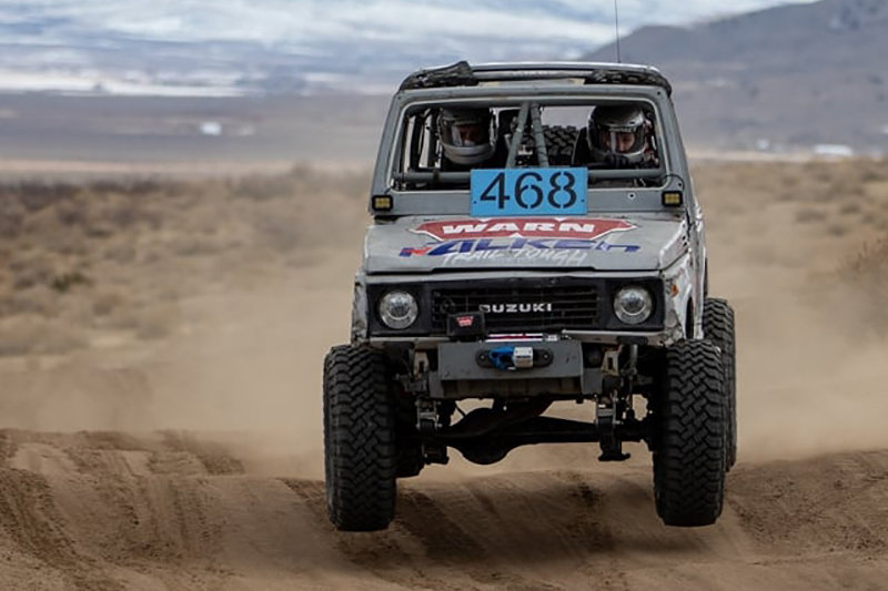 Amber Turner competing at King of the Hammers EMC with a small Suzuki Samurai