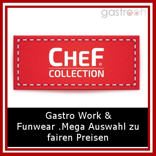Chef Collection- Der Online Shop wirbt mit gastro- work und fun wear, einem breitem Angebot teilweise ausgefallene Alternativen.
