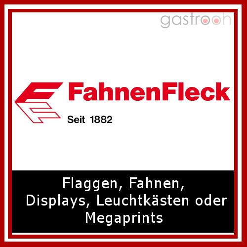 FahnerFleck- Wie der Name schon sagt bietet der Hersteller Fahnen, Masten, Wimpel, aber auch Leuchtkästen und Banner und Werbeträger.