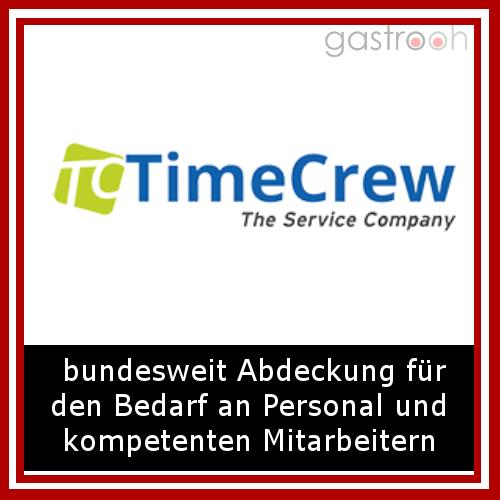 """Timecrew- """"In den letzten Jahren hat sich timecrew mit zu einem der größten gastronomischen Personaldienstleister Deutschlands entwickelt. In den Bereichen Hotel, Betriebsgastronomie, Catering, Messe und Event sehen wir unsere Kernkompetenz."""""""