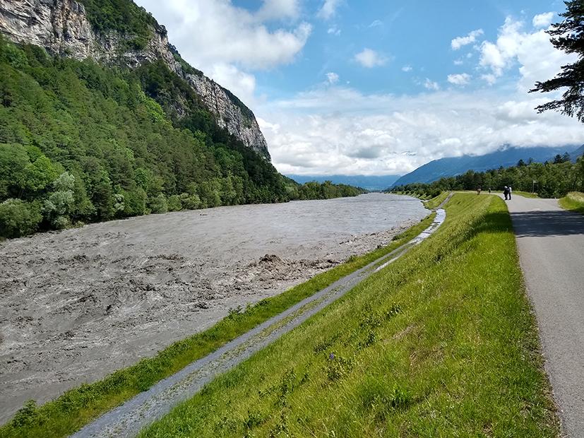 Hochwasser am Alpenrhein am 12. Juni 2019 bei der Ellhornschwelle bei Sargans.
