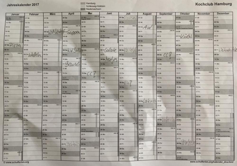 Terminkalender, Stand 25.3.17
