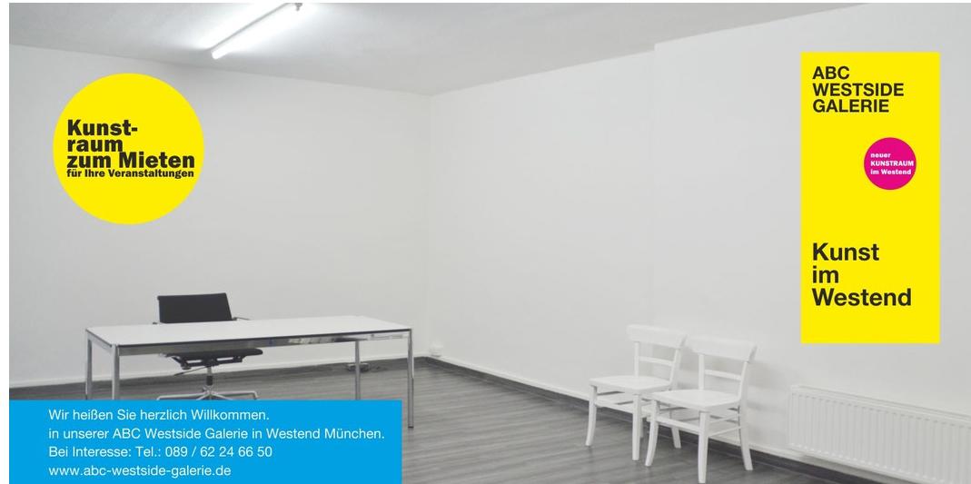 ABC Westside Galerie | Kunstraum zum Mieten für Ihre Veranstaltungen | Neuer Kunstraum in München Westend
