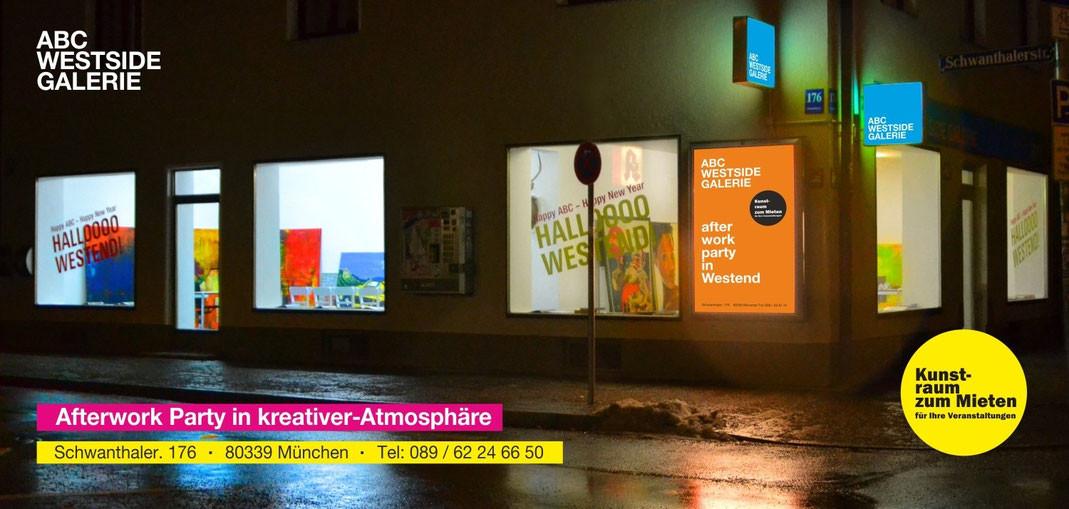 ABC Westside Galerie | Kunstraum zum Mieten für Ihre Veranstaltungen | Afterwork Party in kreativer Atmosphäre | Afterwork Party in Westend | Schwanthaler Str. 176, 80339 München