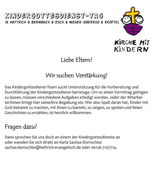 Kindergottesdienst Tag Evangelische Kirchengemeinden