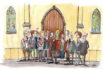 Karikatur Kirchenvorstand