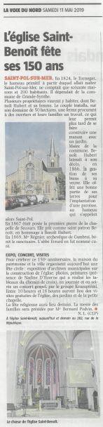 Article de La Voix du Nord Samedi 11 mai 2019